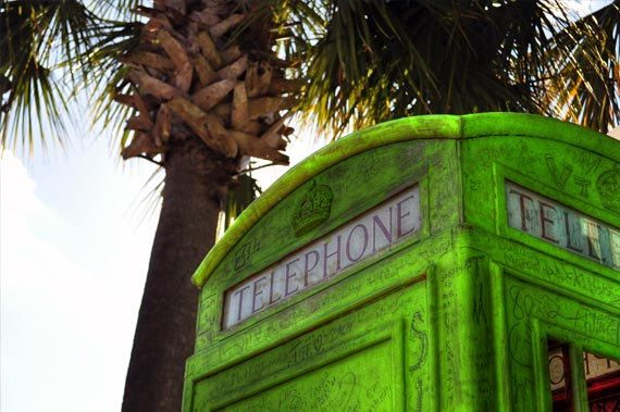 Green phone booth, HDR