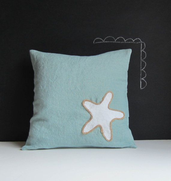 Simple Sea Star summer pillow cover by agoodhome on Etsy, $35.00