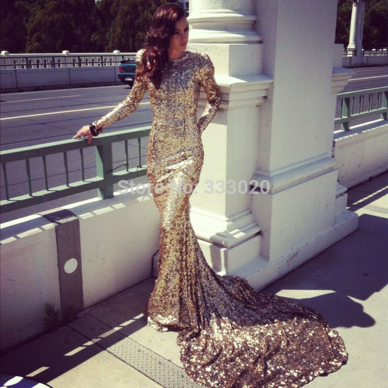 Long Sleeve Mermaid Sparkly Gold Sequin Prom Dress Glittering Long ...