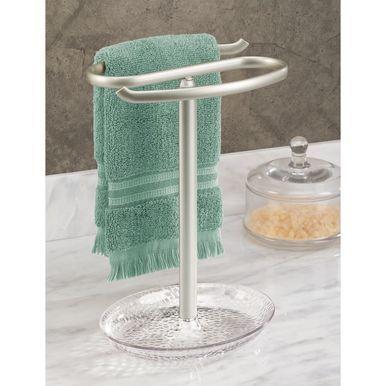 Guest Fingertip Towel Stand Holder For Bathroom Holds 2 Towels