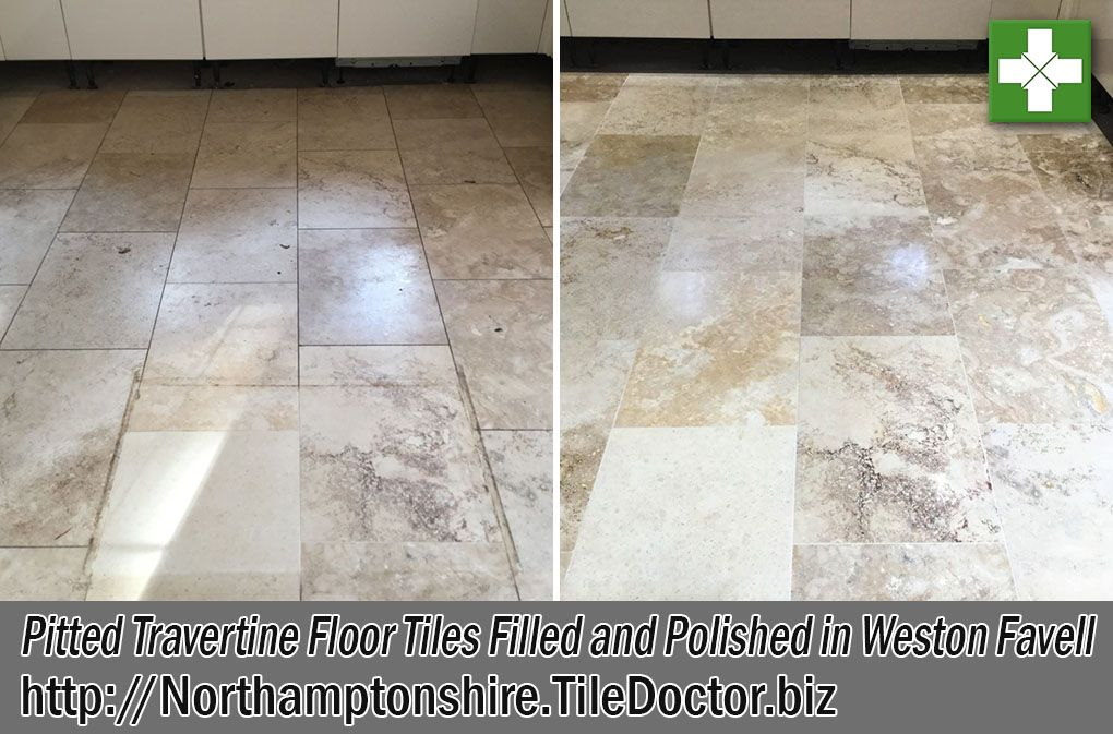 Pitted Travertine Kitchen Floor Tiles Filled and Polished
