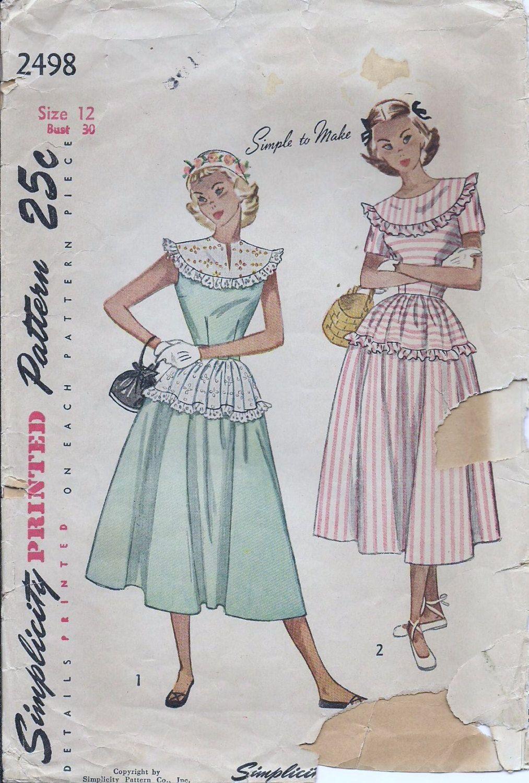 Vintage 1950s Simplicity Dress Sewing Pattern 2498 B30 12 Ruffled ...