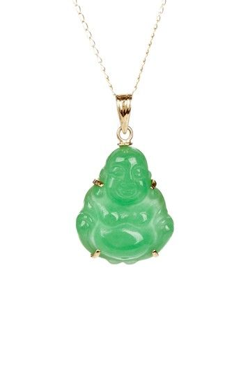 48ff08ed65f Glamorous Green Gems 14K Yellow Gold Jade Buddha Pendant Necklace ...