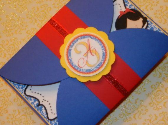 Snow White Inspired Birthday Invitations by ThreeKidsPartyShop
