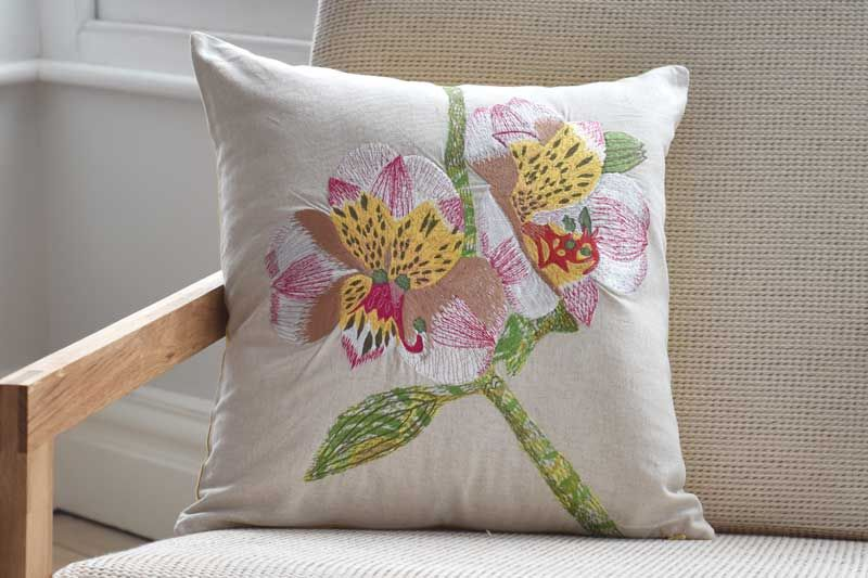 Embroidered Orchid Cushion Cover | Cushions, Furniture for ...