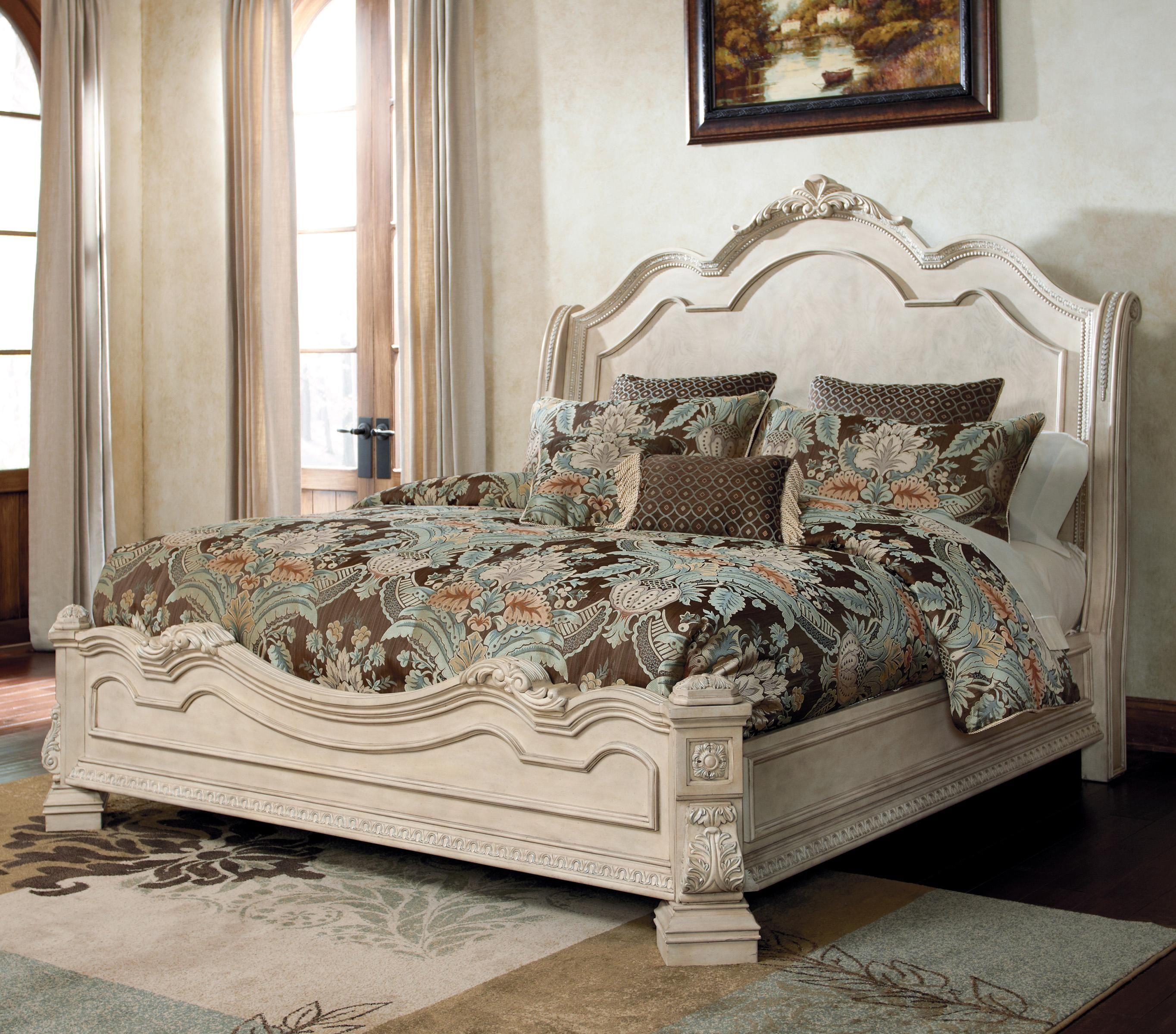 The Ortanique Traditional Queen Bed With Sleigh Headboard By Ashley Millennium Is Available In