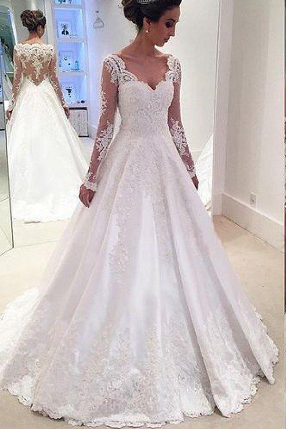 Hot Sales V Neck Lace Satin See Through Long Sleeves Bridal Gowns ...