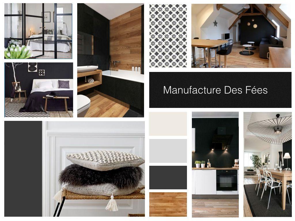 Planche D Ambiance Noir Blanc Bois Manufacture Des Fees Deco