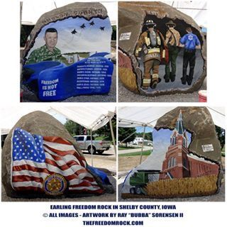 Pin By Debra Williams On Freedom Rocks Painted By Ray Bubba Sorensen Being Painted In Iowa A Different One In Each 99 Counties Shelby County Freedom Rock