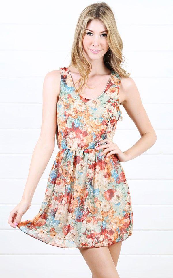 Chiffon Floral Tulip Back Dress MULTI