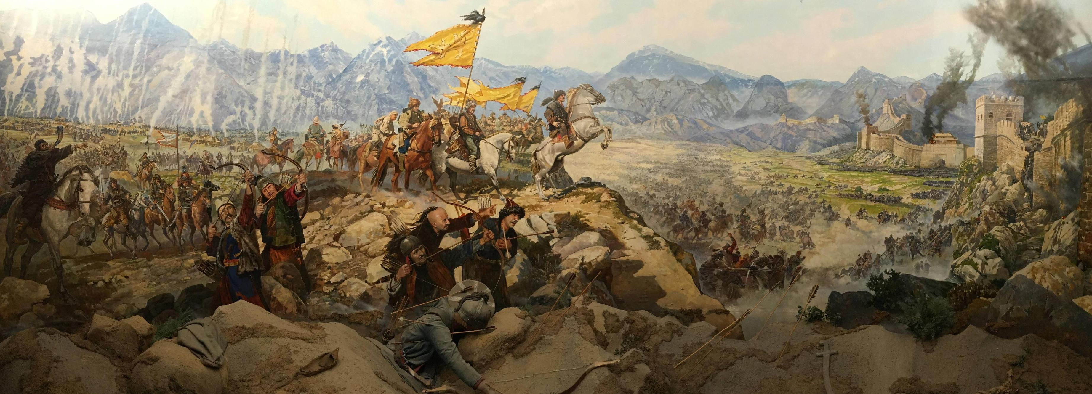 Attack At Chinese Wall By Xiongnu Unknown Artist Istanbul Military Museum 3686x1331 R Battlepaintings Chinese Wall Military Museum Chinese History