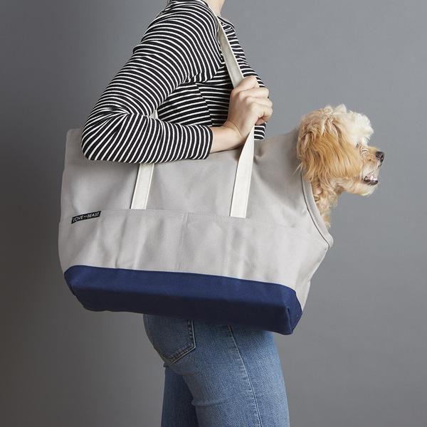 Dog Canvas Pet Tote Grey & Navy by LoveThyBeast