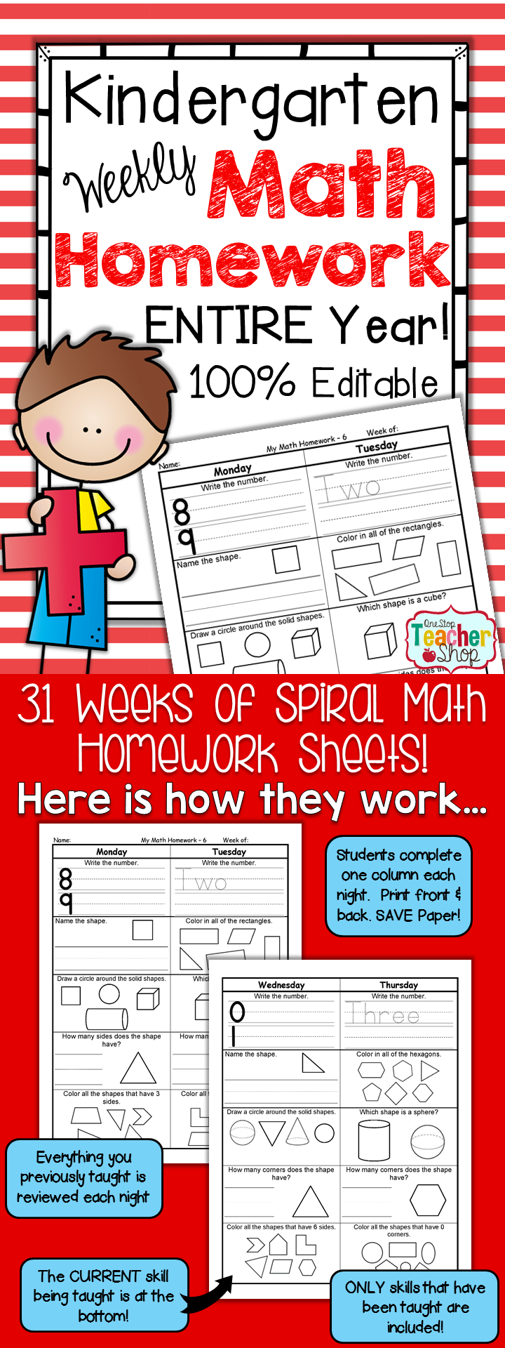 Kindergarten Math Homework | Kindergarten Morning Work | Common core ...