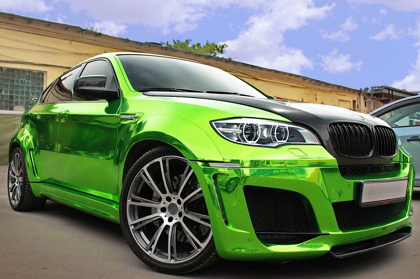 Chrome green BMW Car, Bmw x6, Bmw