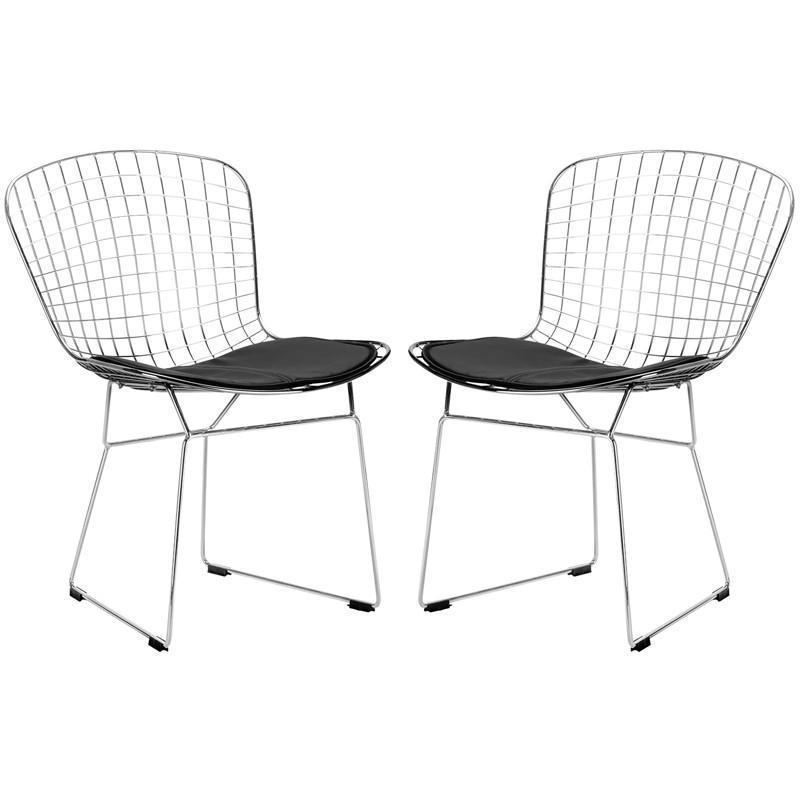 EdgeMod EM-108-BLK-X2 Morph Side Chair in Black (Set of 2)