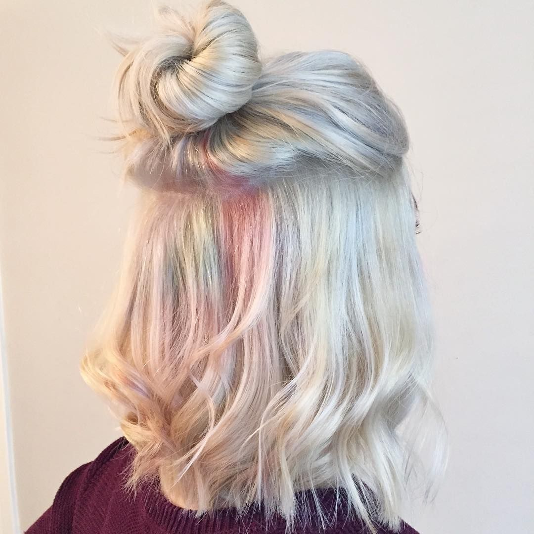 opal hair. beautiful pastel dyed hair mimicking gemstone opal