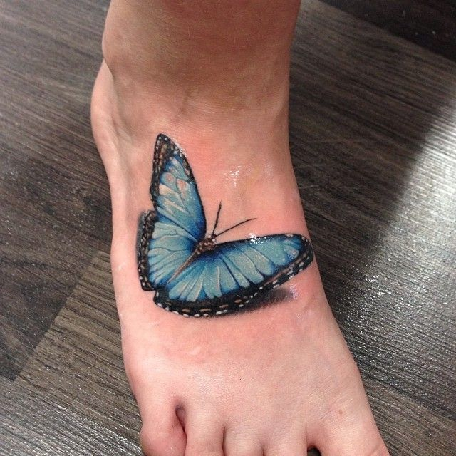 Gorgeous Realistic Blue Butterfly Foot Tattoo By Hanssonjesper I Absolutely Love How It L Purple Butterfly Tattoo Butterfly Foot Tattoo Tiny Butterfly Tattoo
