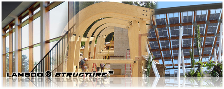 Lamboo® Structure™ - laminated veneer bamboo - can be used for curtain wall installations and in place of all glulam in all situations. Bamboo - The most renewable building material in earth.