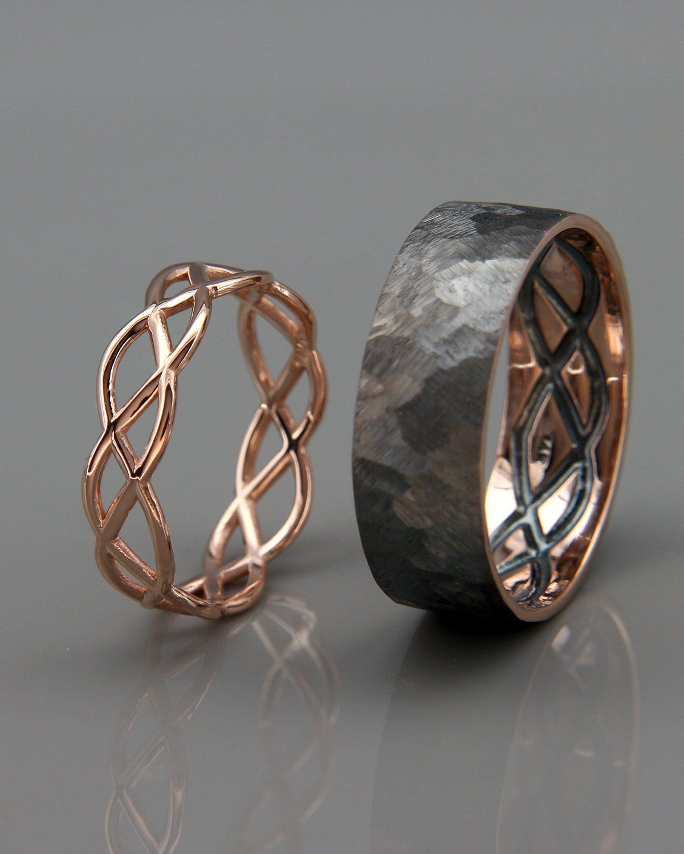 14K Rose Gold Black and Bright Celtic Wedding Rings Set