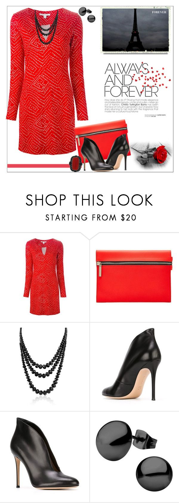 """""""Always and Forever_Red Dress"""" by msmith801 ❤ liked on Polyvore featuring Diane Von Furstenberg, Victoria Beckham, Bling Jewelry, Gianvito Rossi, women's clothing, women's fashion, women, female, woman and misses"""