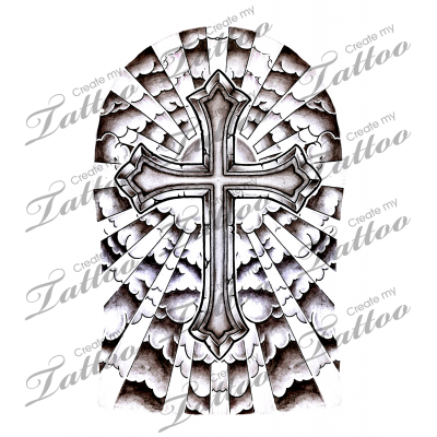 cross with clouds and sunrays half sleeve tattoo ideas pinterest cloud tattoo and tatting. Black Bedroom Furniture Sets. Home Design Ideas