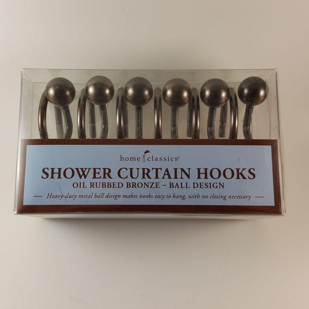 HOME CLASSICS Oil Rubbed Bronze Finish Ball Design Shower Curtain Hooks NEW HomeClassics