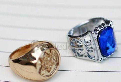 Black Butler Kuroshitsuji Ciel Phantomhive Cosplay Sapphire Ring Golden