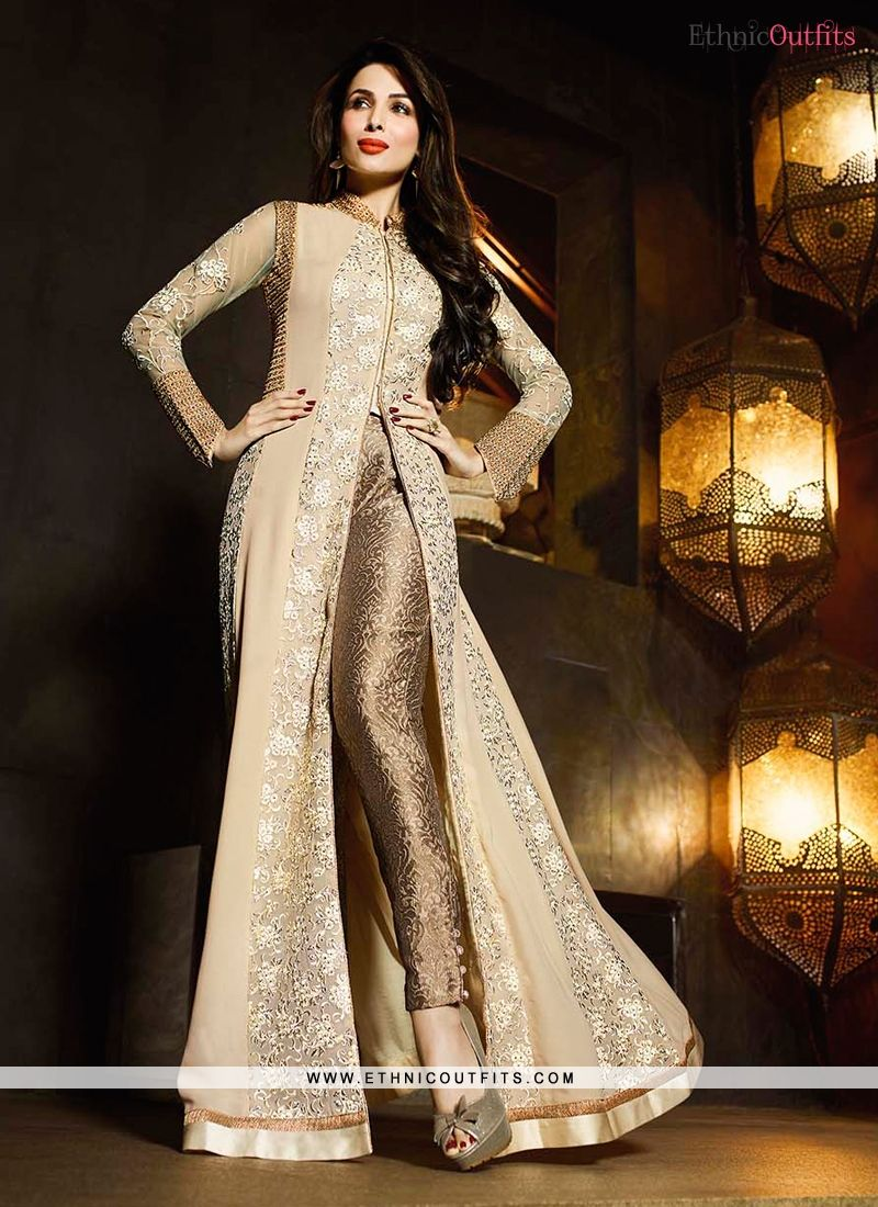 Malaika arora khan patch border work beige and cream designer suit