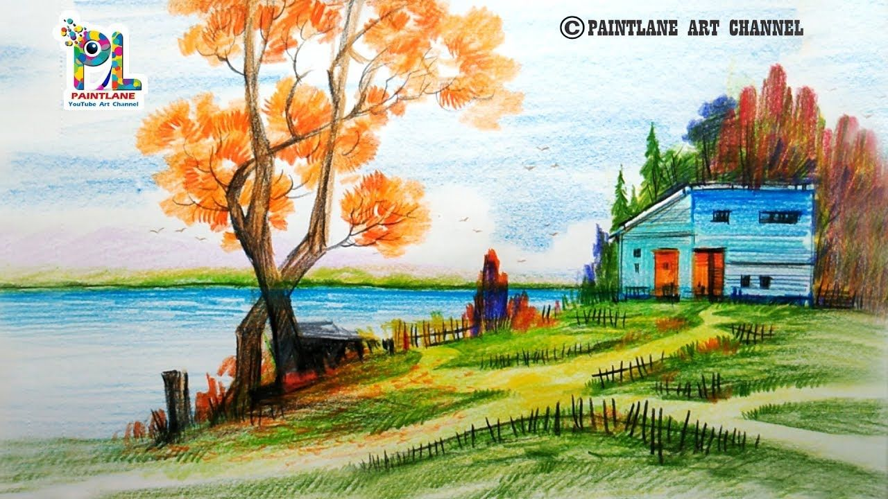 Scenery Drawing For Beginners With Color Pencils Landscape Drawing Youtube Landscape Drawings Drawing Scenery Landscape Drawing Tutorial