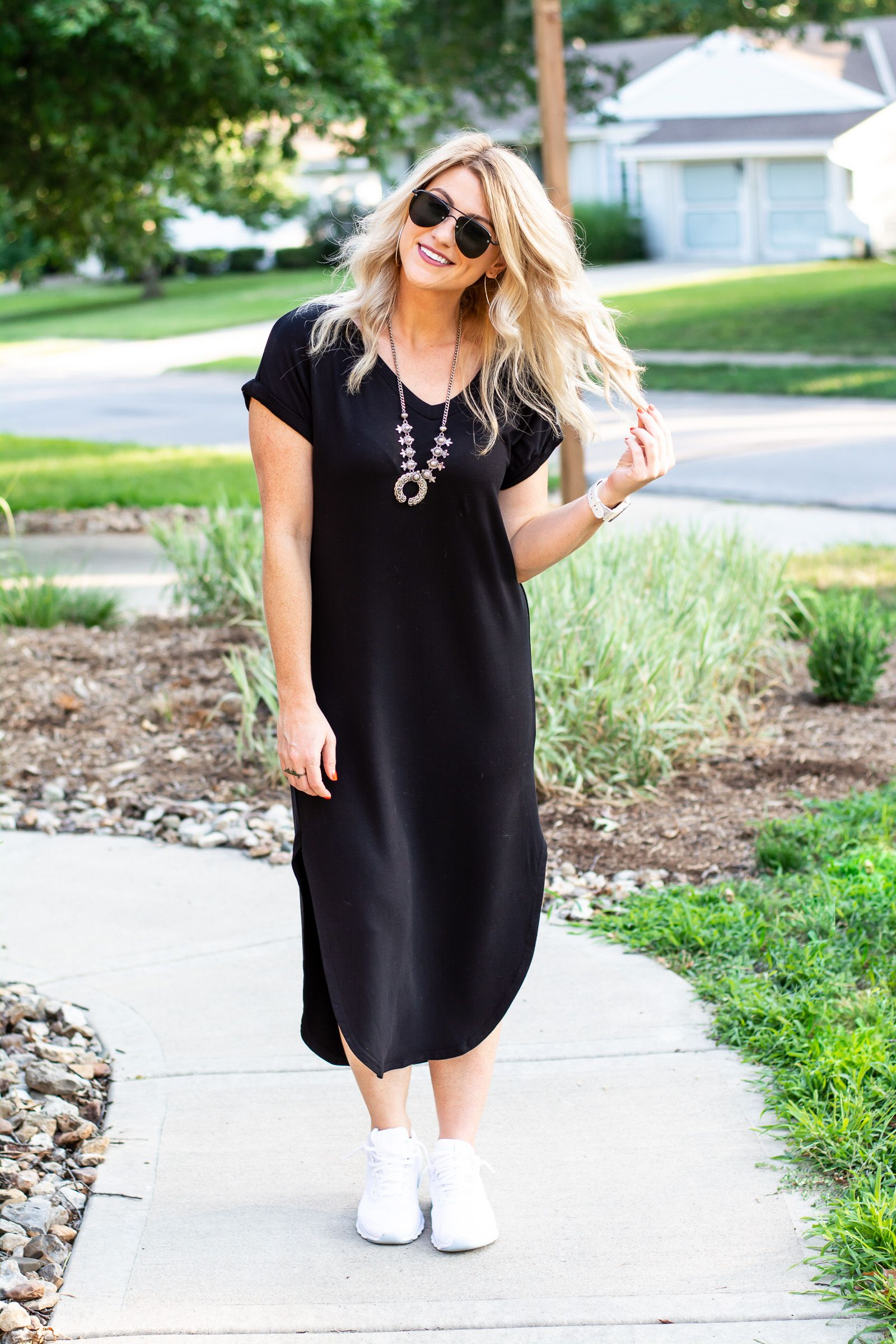 Outfit Idea Black T Shirt Dress White Sneakers Le Stylo Rouge Fashion Outfits Street Style Outfit [ 2400 x 1600 Pixel ]