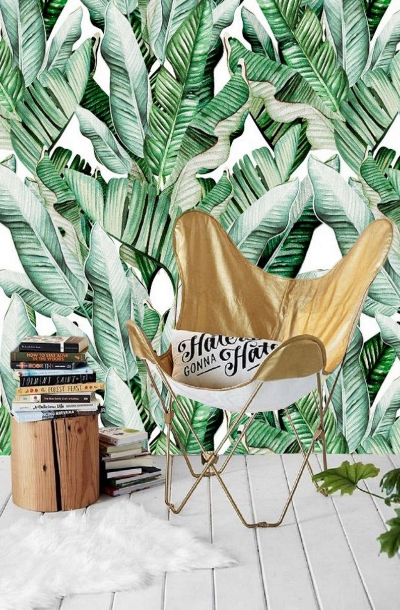 Watercolor Green Banana Leaf Removable Wallpaper Peel And Stick Jungle Tropical Leaves Wallpaper Large Tropical Plants Wallpaper Mural 158 Leaf Wallpaper Plant Wallpaper Wallpaper