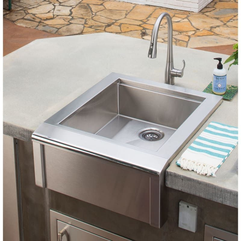 Alfresco Agbc 24 Stainless Steel 24 Inch Wide Built In Sink From The Versa Series Outdoor Kitchen Appliances Outdoor Kitchen Countertops Outdoor Kitchen Design