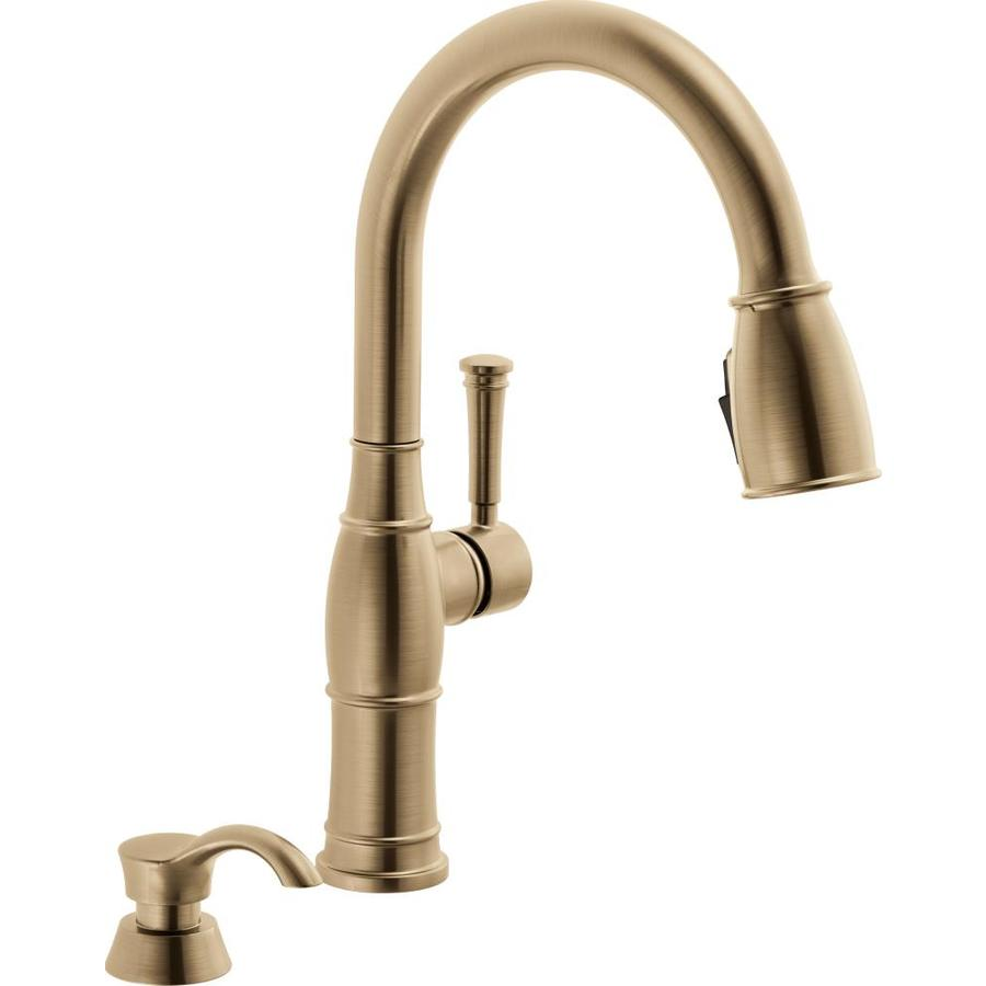 Not Sure I Like Champage Bronze As A Finish And The Handle Is Weirdly High But Not Too Bad Kitchen Faucet Faucet Black Kitchen Faucets