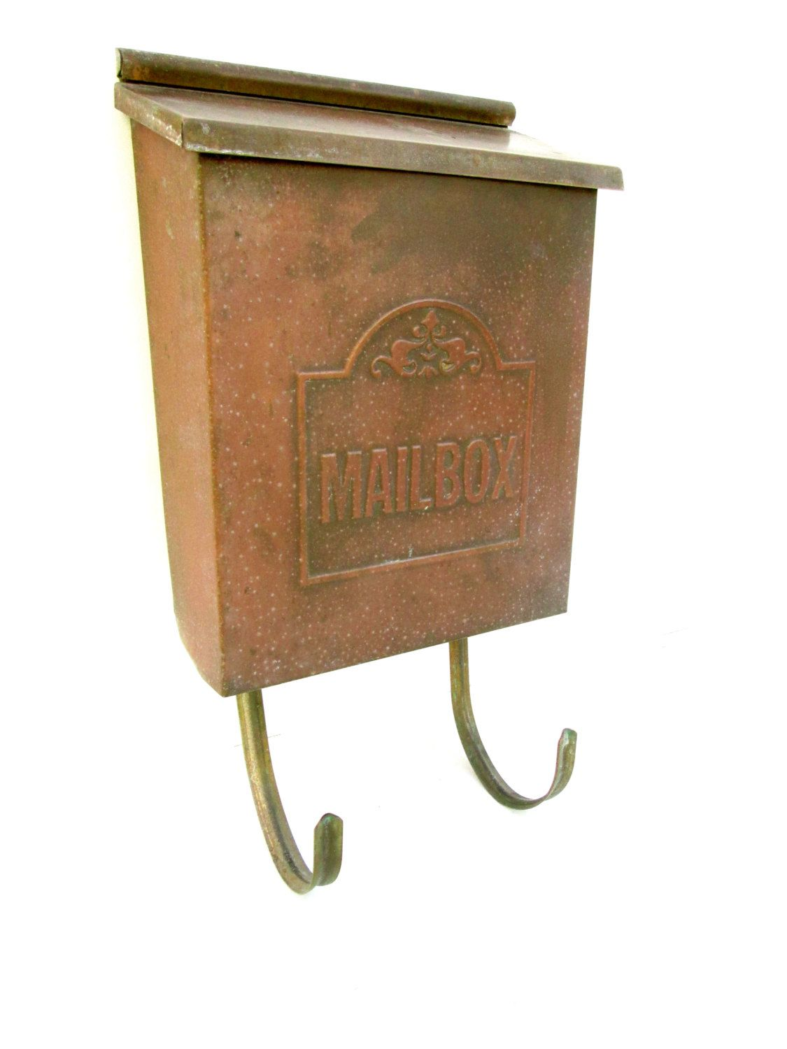 Vintage Copper Wall Mount Mailbox Patina Brass Rustic Vertical