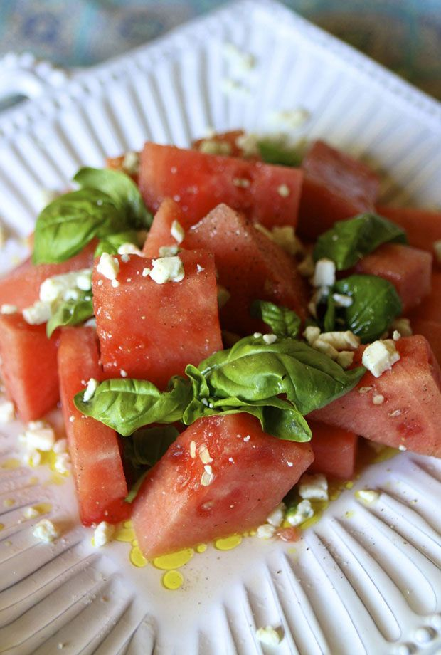 Red, White & Blue Watermelon Salad~ #nationalwatermelonday   Eat • Drink • Garden • Santa Barbara, California