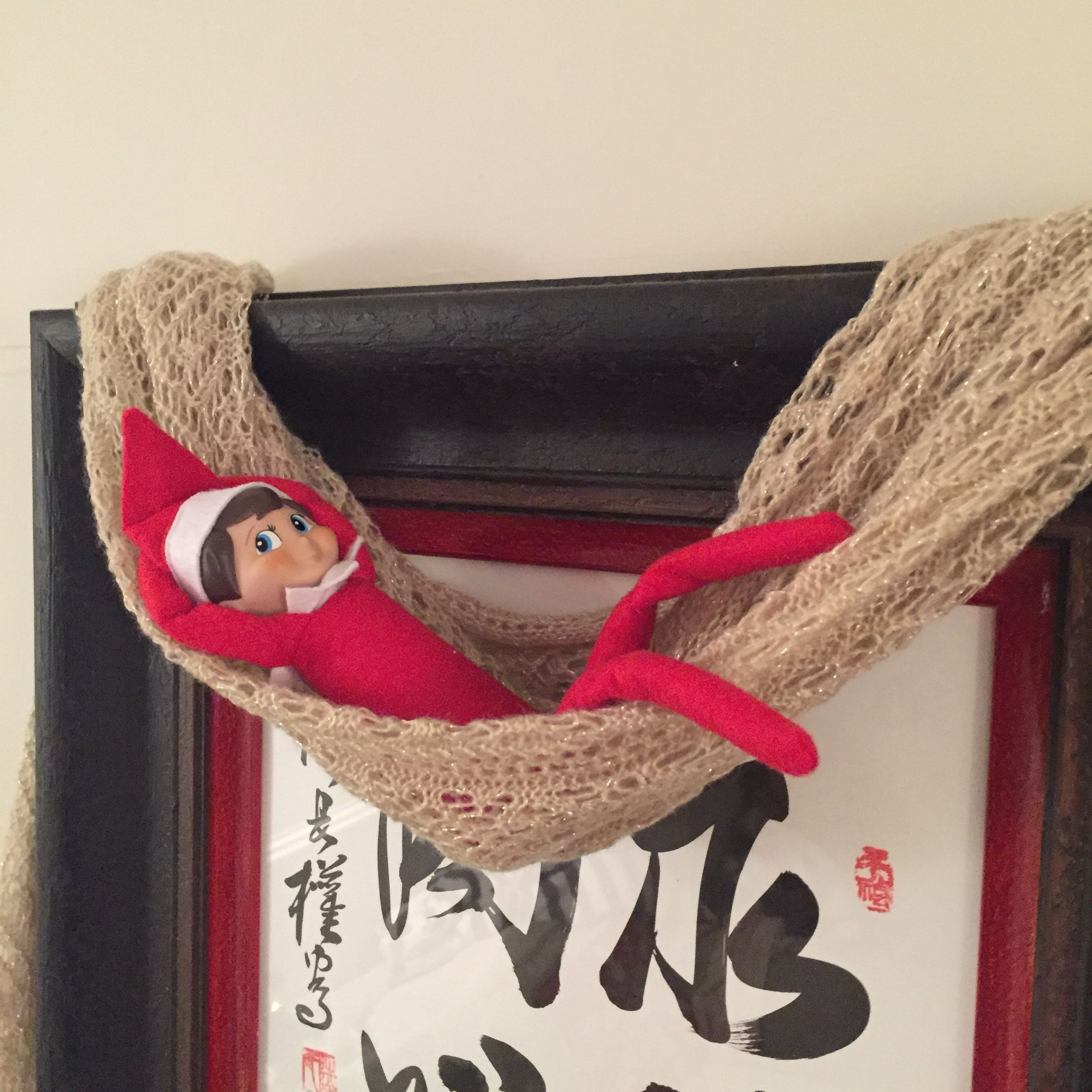 Elf on the shelf - using a scarf as a hammock to chill out!   Elf on ...
