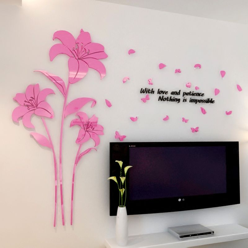 New 7 color lily three dimensional acrylic crystal wall stickers warm living room bedroom home