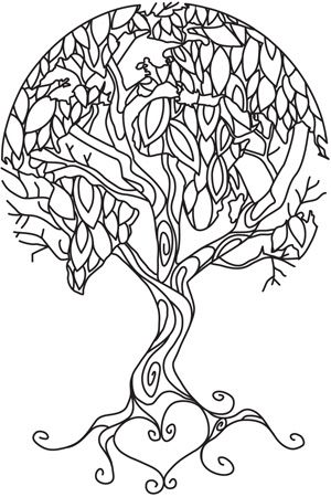Earth Tree Portrait Coloring Pages Embroidery Patterns Pyrography Patterns