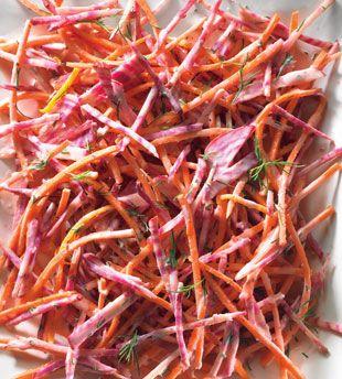 Candy-Stripe Beet and Carrot Slaw by Bon Appetit: Dressed with Greek yogurt, dill, orange zest, orange and lemon juices.