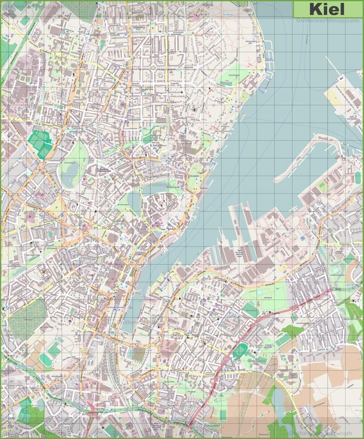 Large detailed map of Kiel Maps Pinterest Kiel and City