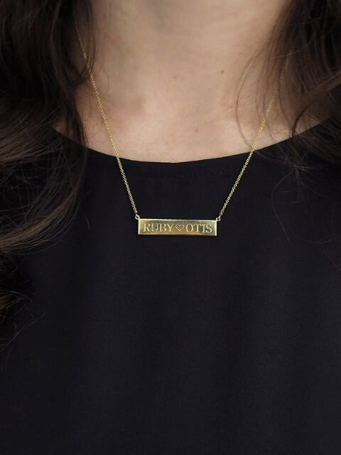 personalized nameplate necklace yellow gold 1 side engraving 16 in