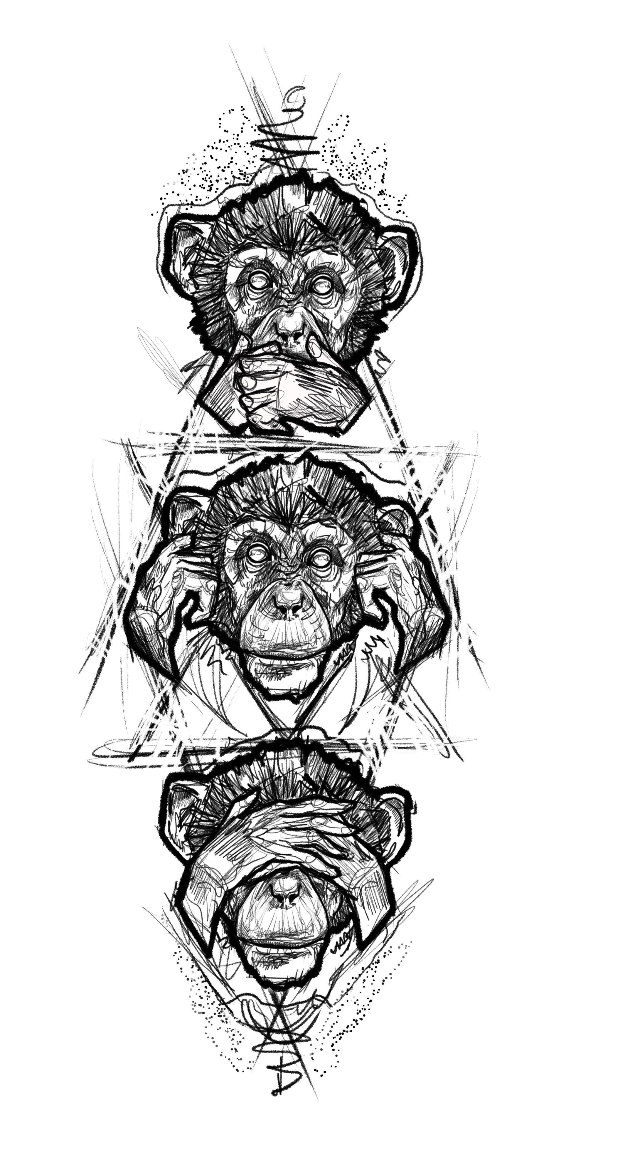4c0ac8739 Three monkey tattoo design sketch | Tattoos | Monkey tattoos, Tattoo ...