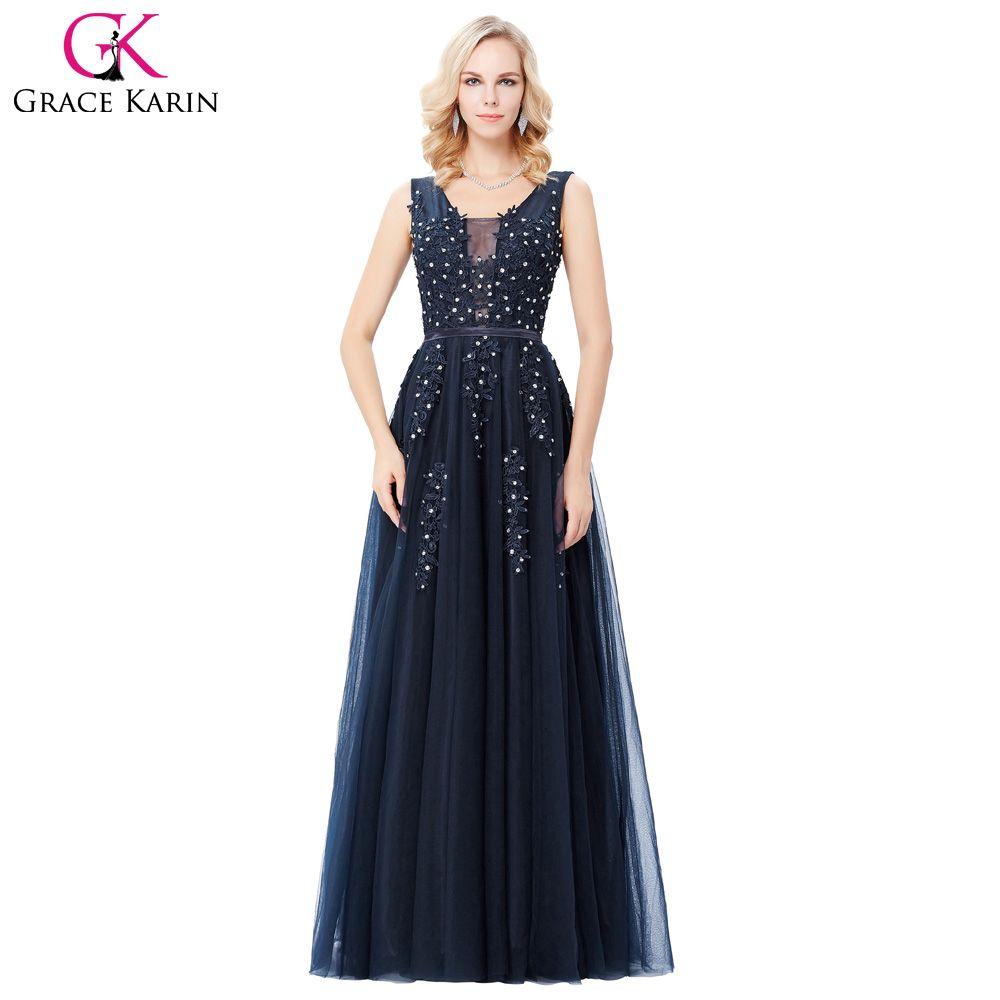Abendkleider Gnade Karin Tiefem V-back Blau Grau Lange Backless ...