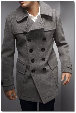 Grey Pea Coat Mens Photo Album - Reikian