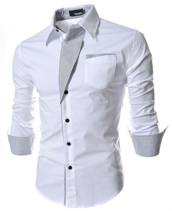Mens Casual Business manga comprida Classic camisas listradas