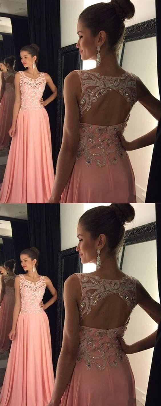 Cute Pink Chiffon Prom Dress,2017,Beaded Floor Length ...