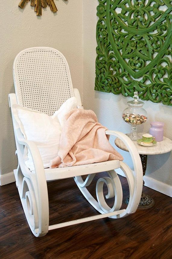 White Bentwood Rocking Chair, Rocker, White Nursery Chair, Pink Blanket,  Shabby Chic