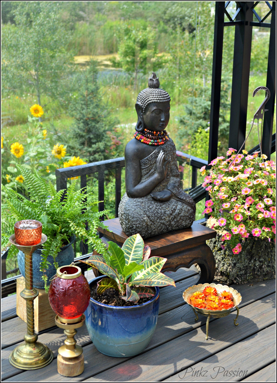 Outdoor garden, zen place, Buddha corner, outdoor plants