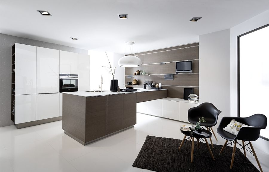 Nolte Modern Art Küche Glas Tec Plus 16W Weiß Hochglanz Nolte ... | {Küchenzeile modern weiß 78}