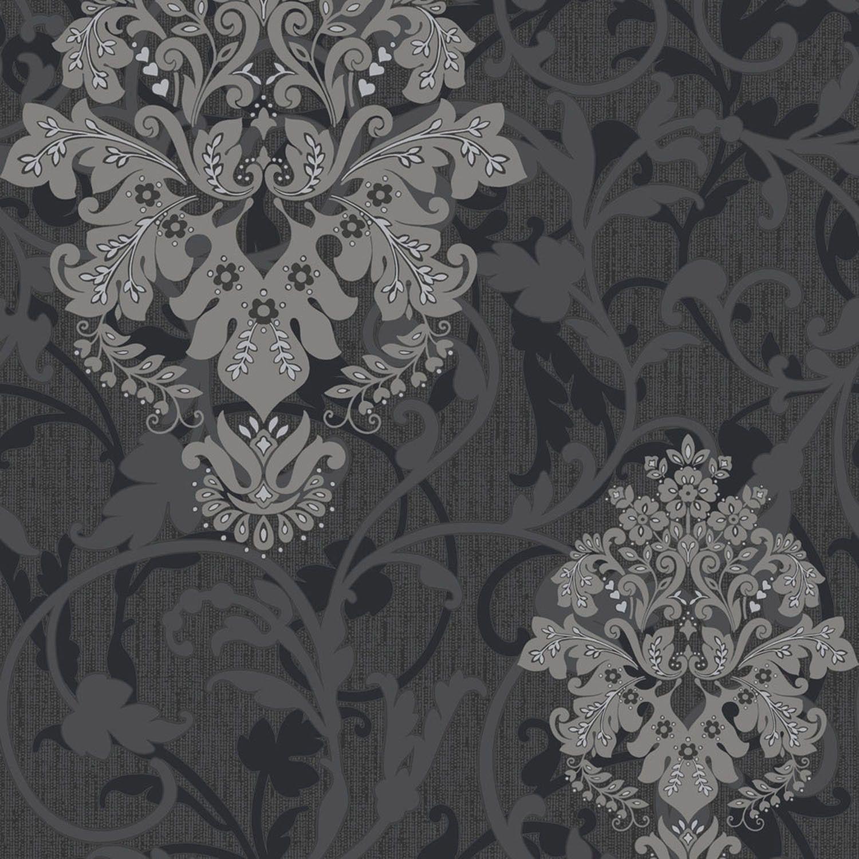 Wanders blue wanders forest flocked wallpaper damask wallpaper - Crown Arabesque Wallpaper
